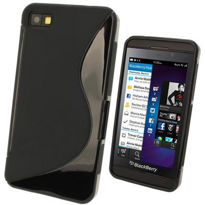 iGadgitz Dual Tone Black Gel Case for BlackBerry Z10 + Screen Protector Thumbnail 1