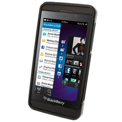 iGadgitz Dual Tone Black Gel Case for BlackBerry Z10 + Screen Protector Thumbnail 2