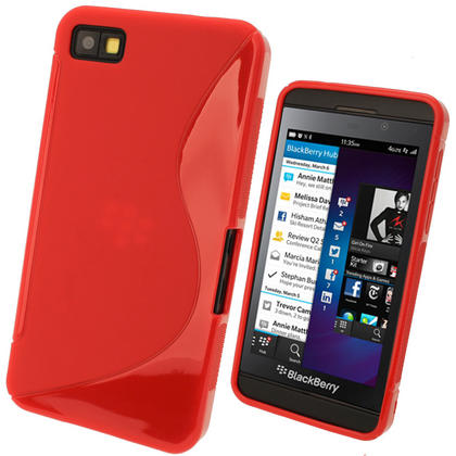 iGadgitz Dual Tone Red Gel Case for BlackBerry Z10 + Screen Protector Thumbnail 1