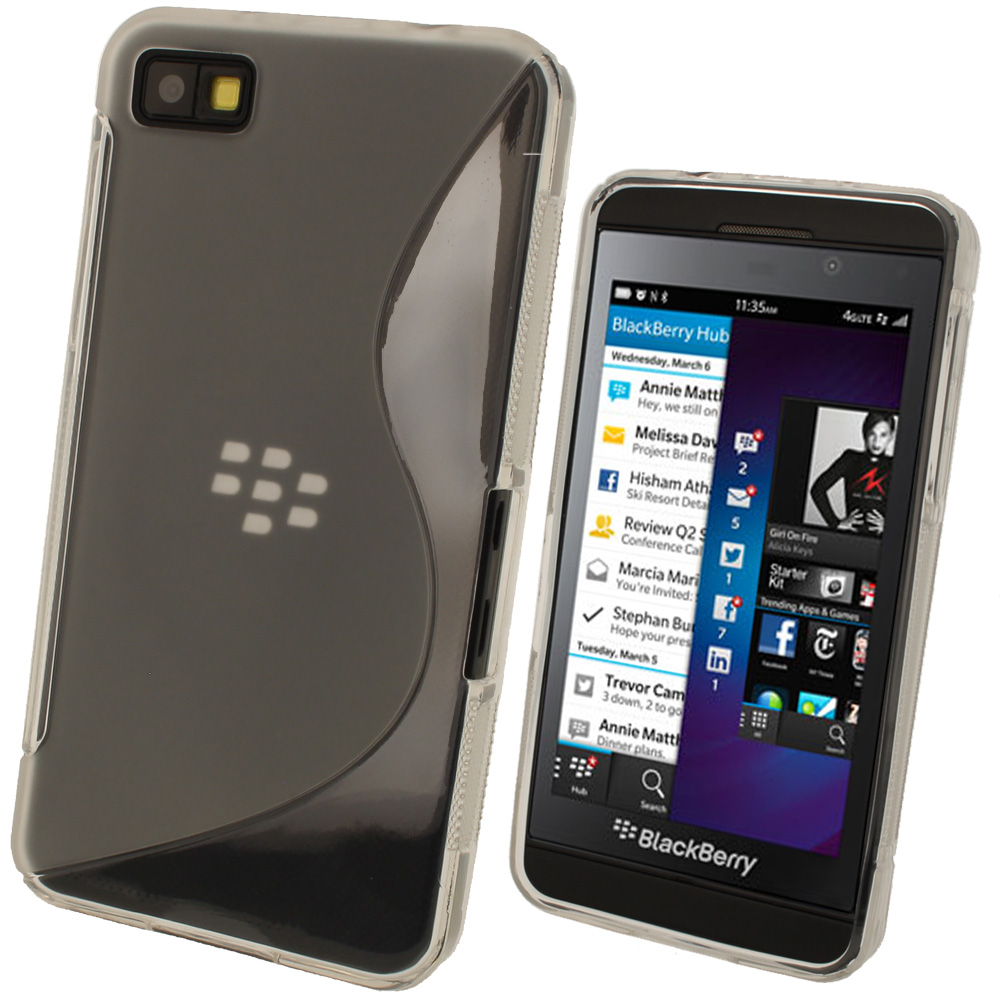 iGadgitz Dual Tone Clear Gel Case for BlackBerry Z10 + Screen Protector