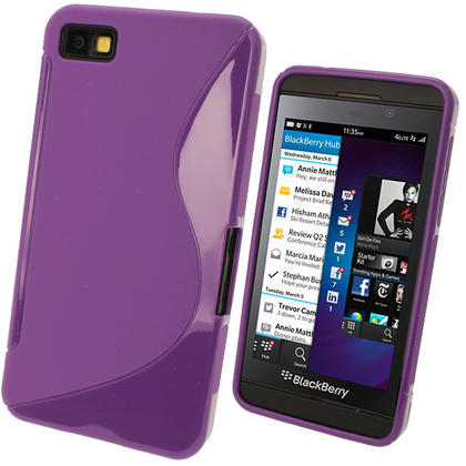 iGadgitz Dual Tone Purple Gel Case for BlackBerry Z10 + Screen Protector Thumbnail 1