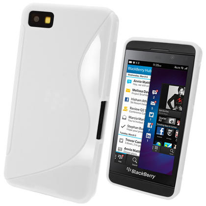 iGadgitz Dual Tone White Gel Case for BlackBerry Z10 + Screen Protector Thumbnail 1