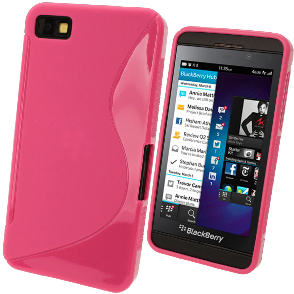 iGadgitz Dual Tone Pink Gel Case for BlackBerry Z10 + Screen Protector