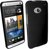 iGadgitz Black Glossy Gel Case for HTC One M7 + Screen Protector
