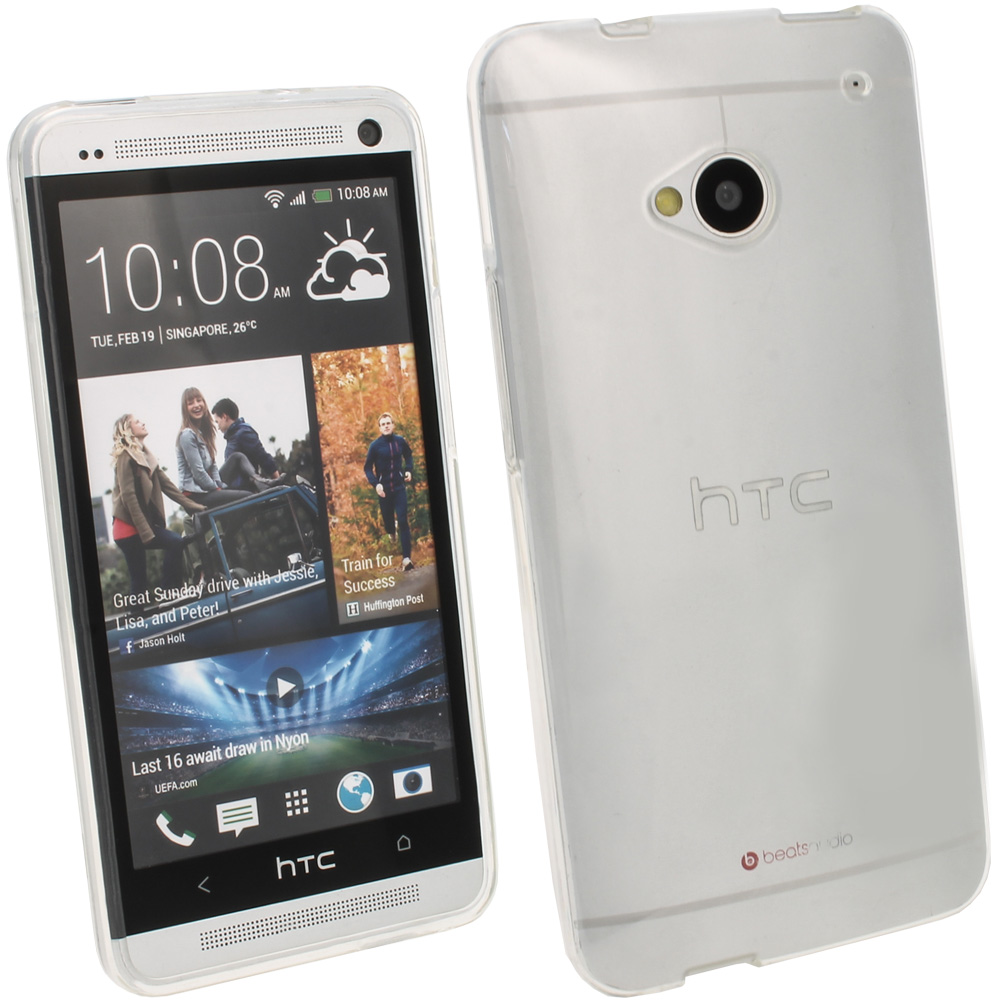 iGadgitz Clear Glossy Gel Case for HTC One M7 + Screen Protector