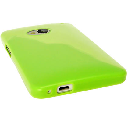 iGadgitz Green Glossy Gel Case for HTC One M7 + Screen Protector Thumbnail 2