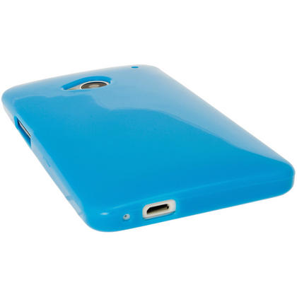 iGadgitz Blue Glossy Gel Case for HTC One M7 + Screen Protector Thumbnail 4