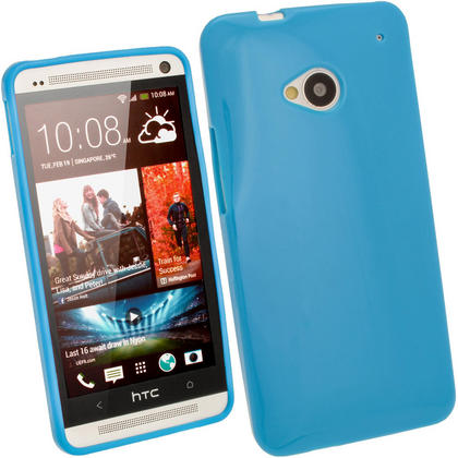 iGadgitz Blue Glossy Gel Case for HTC One M7 + Screen Protector Thumbnail 1