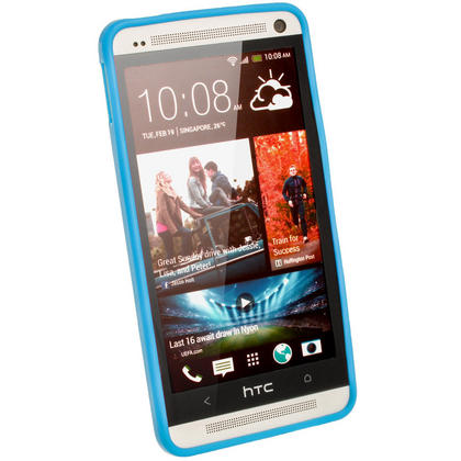 iGadgitz Blue Glossy Gel Case for HTC One M7 + Screen Protector Thumbnail 2