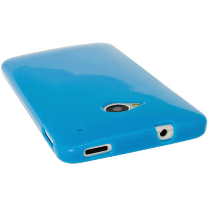 iGadgitz Blue Glossy Gel Case for HTC One M7 + Screen Protector Thumbnail 5