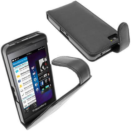 iGadgitz Black Leather Case Cover Holder for BlackBerry Z10 Smartphone Mobile Phone + Screen Protector Thumbnail 1