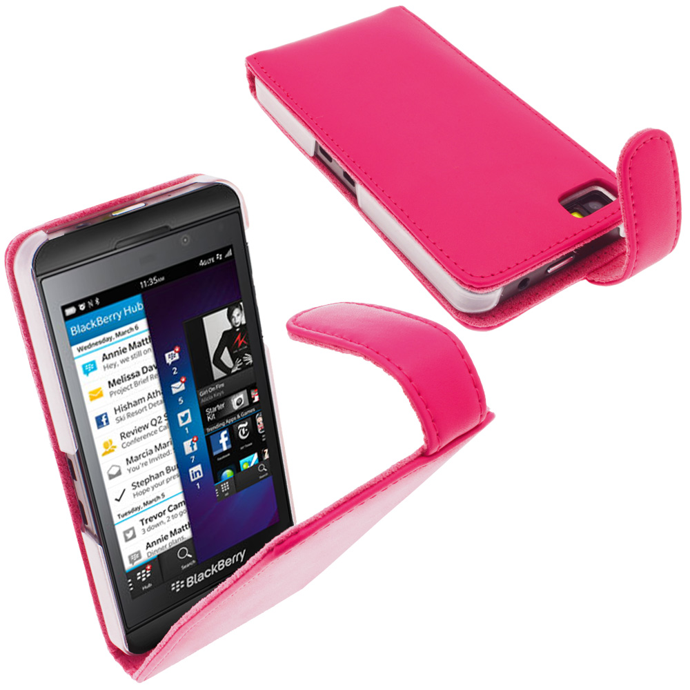 iGadgitz Pink Leather Case Cover Holder for BlackBerry Z10 Smartphone Mobile Phone + Screen Protector