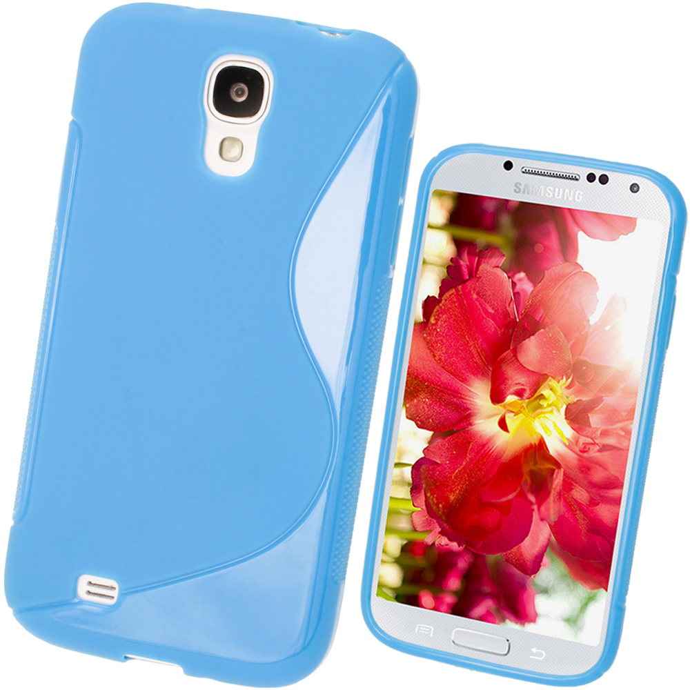 iGadgitz S Line Blue Gel Case for Samsung Galaxy S4 IV I9500 I9505 + Screen Protector