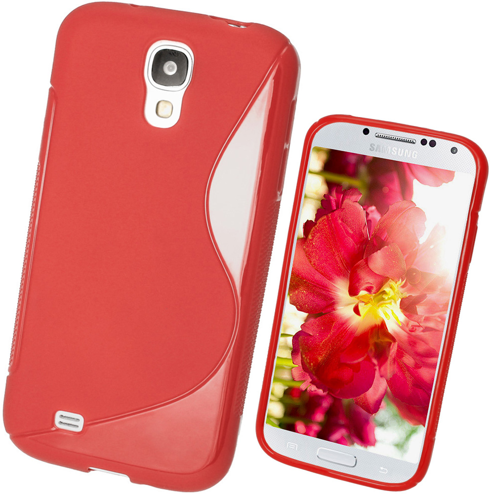 iGadgitz S Line Red Gel Case for Samsung Galaxy S4 IV I9500 I9505 + Screen Protector