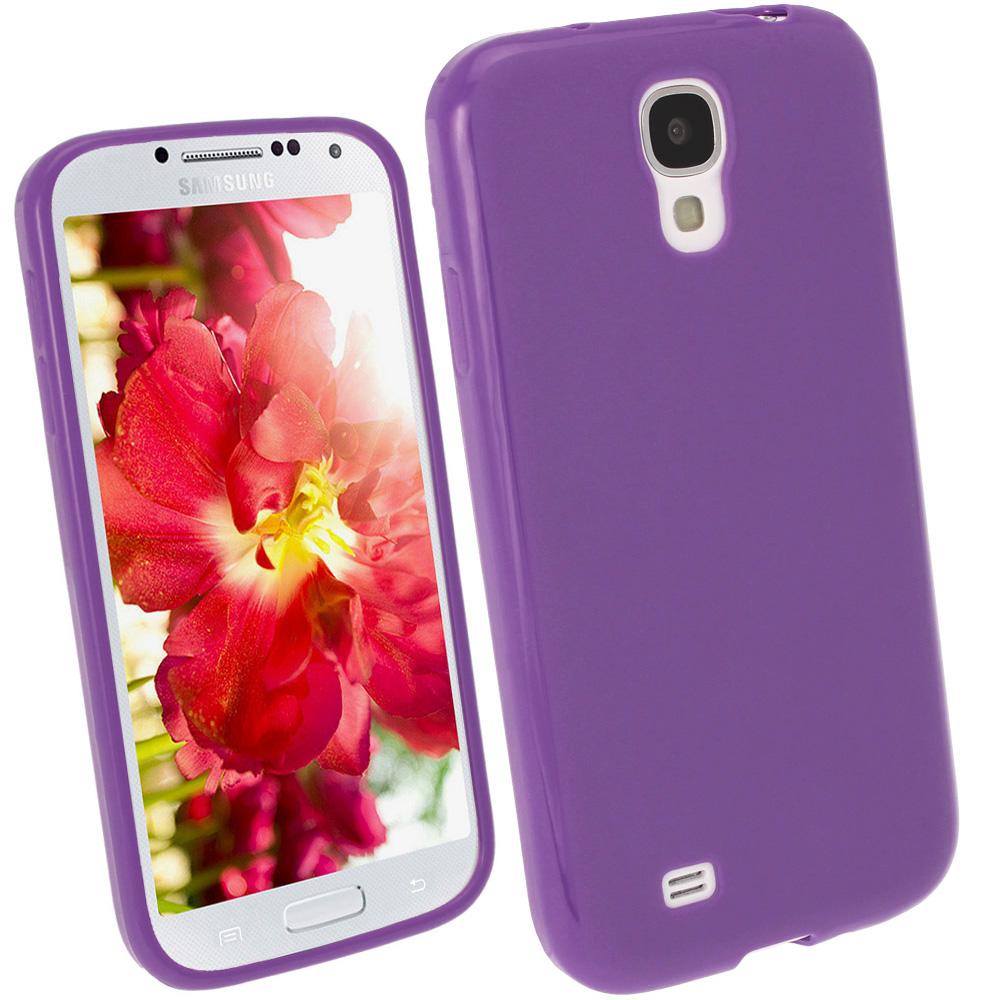iGadgitz Purple Gel Case for Samsung Galaxy S4 IV I9500 I9505 + Screen Protector