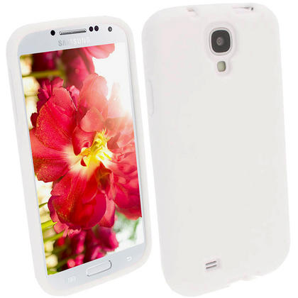 iGadgitz White Silicone Skin Case Cover for Samsung Galaxy S4 IV I9500 I9505 + Screen Protector Thumbnail 1