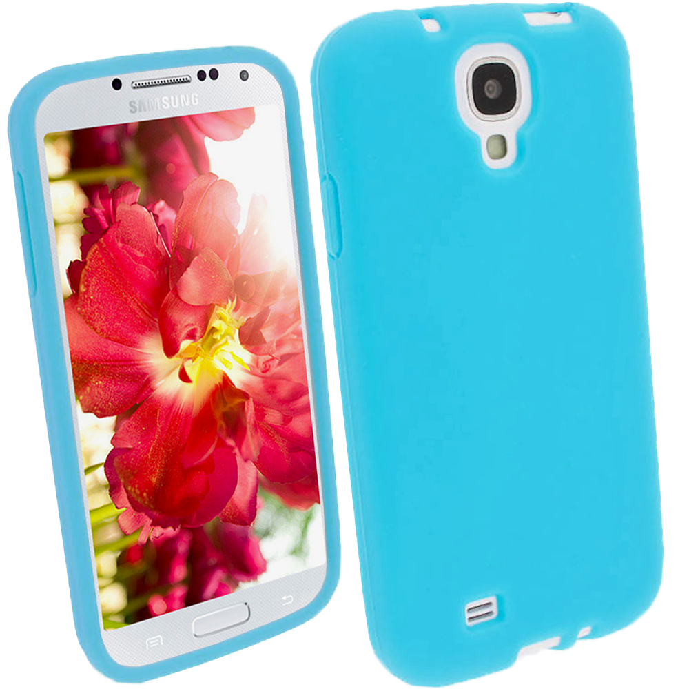 iGadgitz Blue Silicone Skin Case Cover for Samsung Galaxy S4 IV I9500 I9505 + Screen Protector