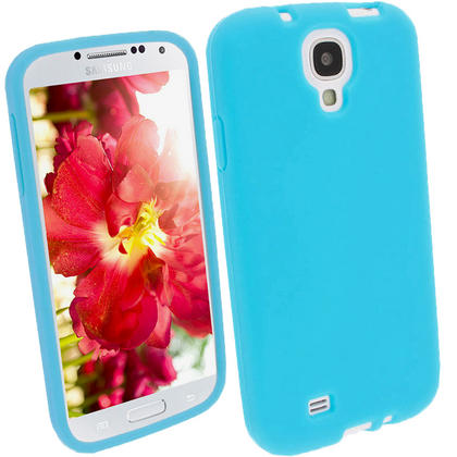 iGadgitz Blue Silicone Skin Case Cover for Samsung Galaxy S4 IV I9500 I9505 + Screen Protector Thumbnail 1