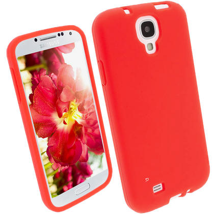iGadgitz Red Silicone Skin Case Cover for Samsung Galaxy S4 IV I9500 I9505 + Screen Protector Thumbnail 1