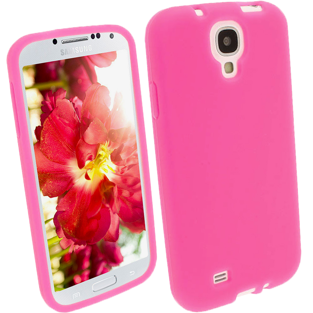 iGadgitz Pink Silicone Skin Case Cover for Samsung Galaxy S4 IV I9500 I9505 + Screen Protector