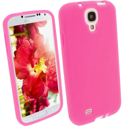 iGadgitz Pink Silicone Skin Case Cover for Samsung Galaxy S4 IV I9500 I9505 + Screen Protector Thumbnail 1