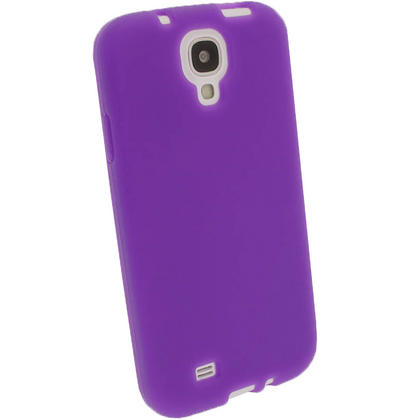 iGadgitz Purple Silicone Skin Case Cover for Samsung Galaxy S4 IV I9500 I9505 + Screen Protector Thumbnail 2