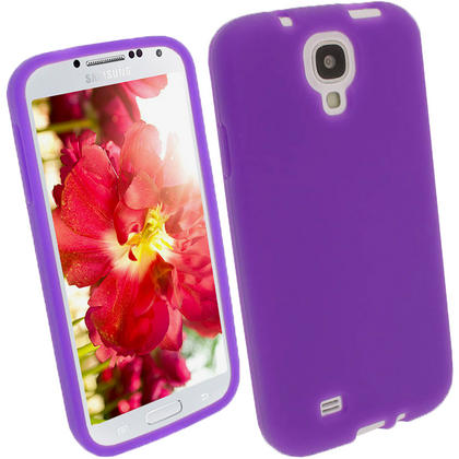 iGadgitz Purple Silicone Skin Case Cover for Samsung Galaxy S4 IV I9500 I9505 + Screen Protector Thumbnail 1