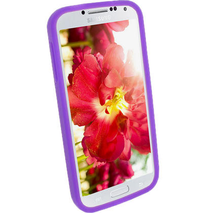 iGadgitz Purple Silicone Skin Case Cover for Samsung Galaxy S4 IV I9500 I9505 + Screen Protector Thumbnail 3