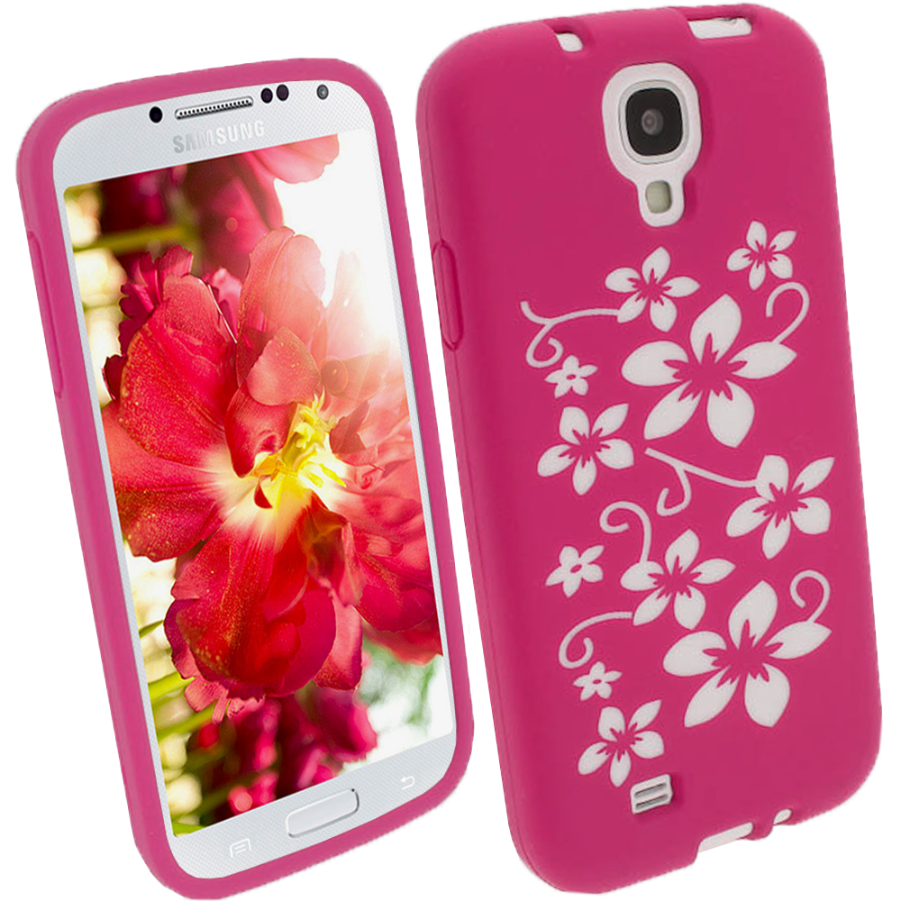 iGadgitz Pink & White Flowers Silicone Skin Case Cover for Samsung Galaxy S4 IV I9500 I9505 + Screen Protector