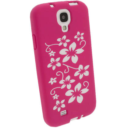 iGadgitz Pink & White Flowers Silicone Skin Case Cover for Samsung Galaxy S4 IV I9500 I9505 + Screen Protector Thumbnail 2