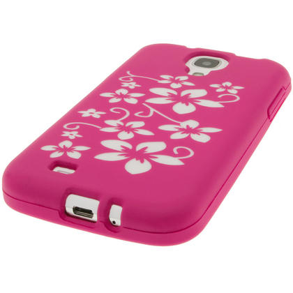 iGadgitz Pink & White Flowers Silicone Skin Case Cover for Samsung Galaxy S4 IV I9500 I9505 + Screen Protector Thumbnail 4