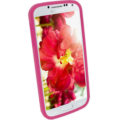 iGadgitz Pink & White Flowers Silicone Skin Case Cover for Samsung Galaxy S4 IV I9500 I9505 + Screen Protector Thumbnail 3