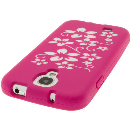iGadgitz Pink & White Flowers Silicone Skin Case Cover for Samsung Galaxy S4 IV I9500 I9505 + Screen Protector Thumbnail 5