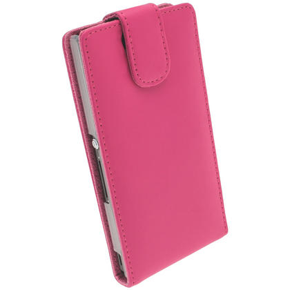 iGadgitz Pink Leather Case Cover Holder for Sony Xperia Z Android Smartphone Mobile Phone + Screen Protector Thumbnail 3