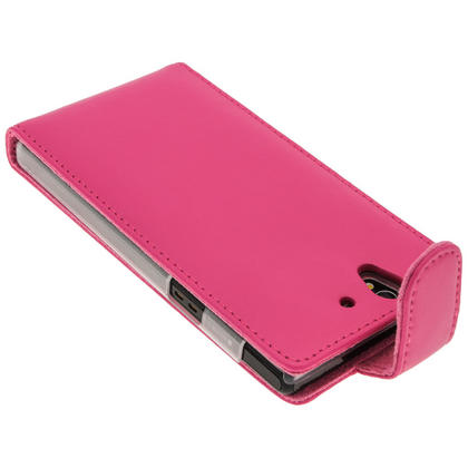 iGadgitz Pink Leather Case Cover Holder for Sony Xperia Z Android Smartphone Mobile Phone + Screen Protector Thumbnail 4
