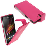 iGadgitz Pink Leather Case Cover Holder for Sony Xperia Z Android Smartphone Mobile Phone + Screen Protector