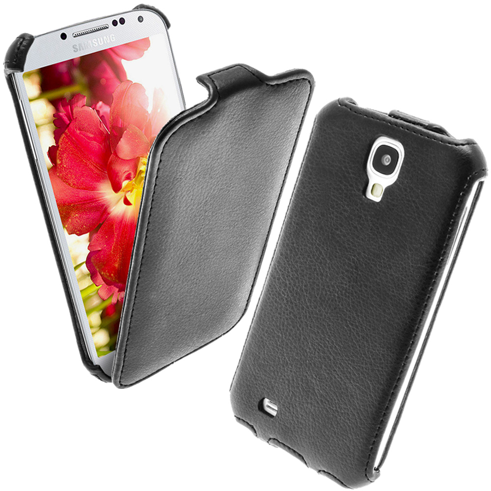 iGadgitz Black PU Leather Flip Case Cover Holder for Samsung Galaxy S4 IV I9500 I9505. With Sleep/Wake Function