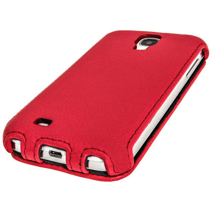 iGadgitz Red PU Leather Flip Case Cover Holder for Samsung Galaxy S4 IV I9500 I9505. With Sleep/Wake Function. Thumbnail 2