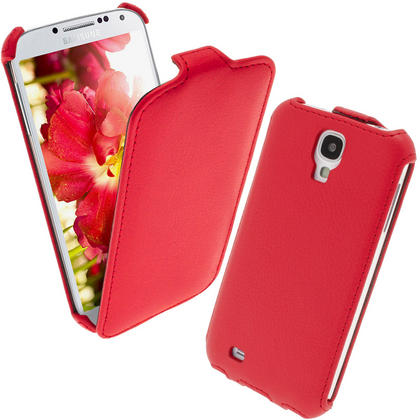 iGadgitz Red PU Leather Flip Case Cover Holder for Samsung Galaxy S4 IV I9500 I9505. With Sleep/Wake Function. Thumbnail 1
