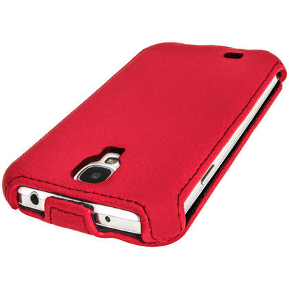 iGadgitz Red PU Leather Flip Case Cover Holder for Samsung Galaxy S4 IV I9500 I9505. With Sleep/Wake Function. Thumbnail 4