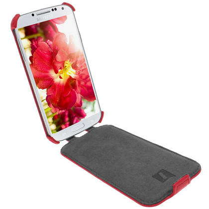 iGadgitz Red PU Leather Flip Case Cover Holder for Samsung Galaxy S4 IV I9500 I9505. With Sleep/Wake Function. Thumbnail 3