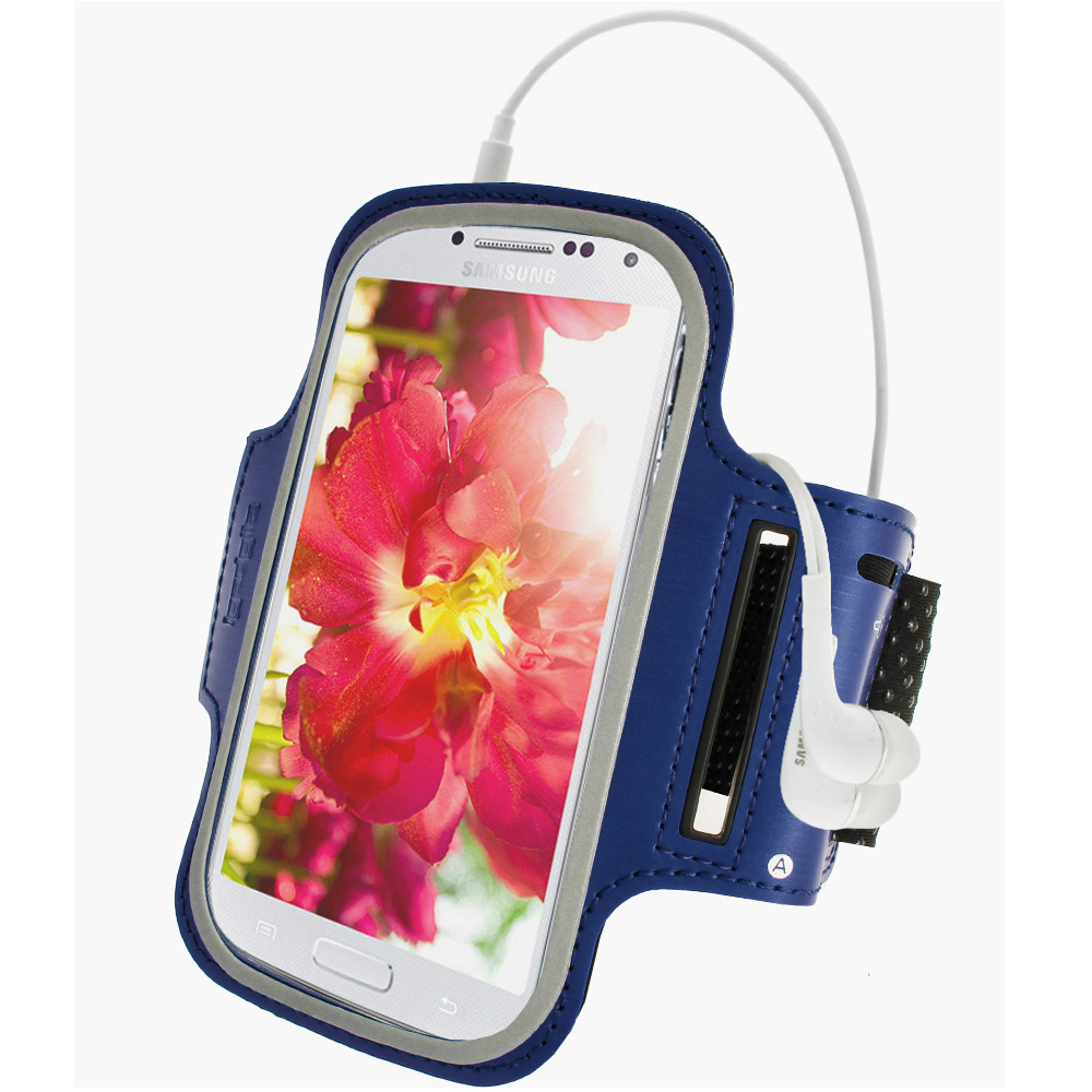iGadgitz Blue Reflective Anti-Slip Neoprene Sports Armband for Samsung Galaxy S4 IV I9500 & S4 Active I9295