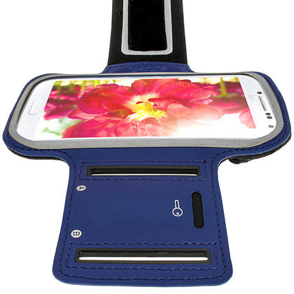 iGadgitz Blue Reflective Anti-Slip Neoprene Sports Armband for Samsung Galaxy S4 IV I9500 & S4 Active I9295 Thumbnail 4