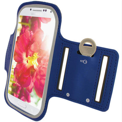 iGadgitz Blue Reflective Anti-Slip Neoprene Sports Armband for Samsung Galaxy S4 IV I9500 & S4 Active I9295 Thumbnail 6