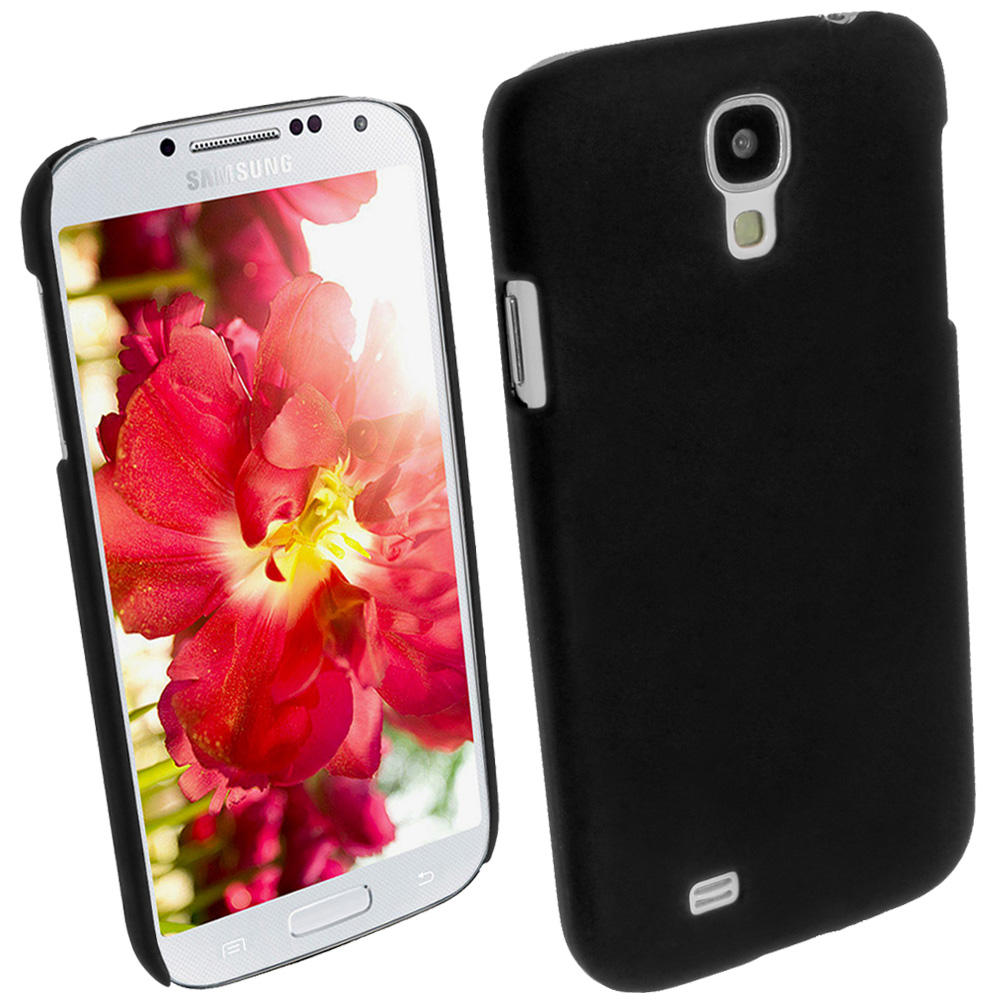 iGadgitz Black Rubberised PC Hard Case Cover for Samsung Galaxy S4 IV I9500 I9505 + Screen Protector