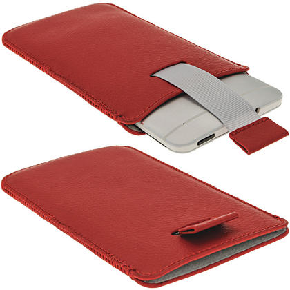 iGadgitz Red Leather Pouch Case Cover for HTC One M7 Android Smartphone Mobile Phone Thumbnail 2