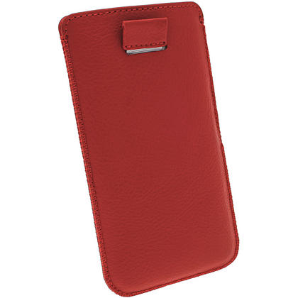 iGadgitz Red Leather Pouch Case Cover for HTC One M7 Android Smartphone Mobile Phone Thumbnail 4