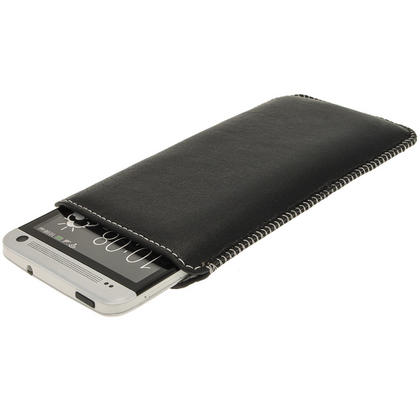 iGadgitz Black Genuine Leather Pouch Case Cover with Elasticated Pull Tab Release System for HTC One M7 Thumbnail 2