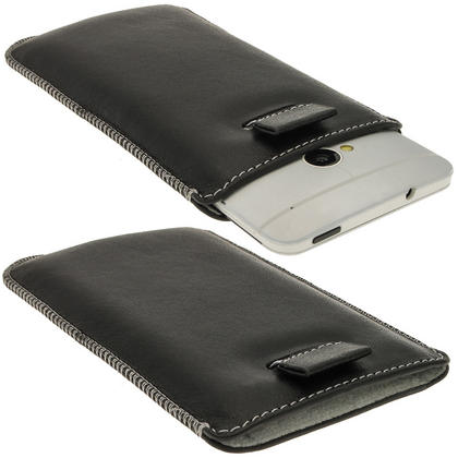 iGadgitz Black Genuine Leather Pouch Case Cover with Elasticated Pull Tab Release System for HTC One M7 Thumbnail 1