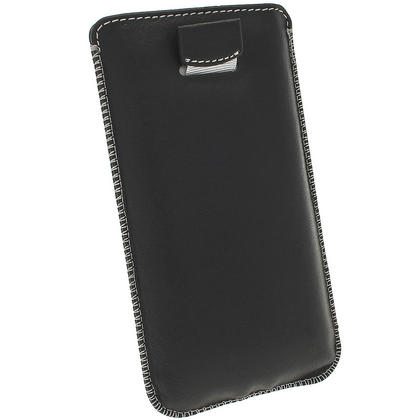 iGadgitz Black Genuine Leather Pouch Case Cover with Elasticated Pull Tab Release System for HTC One M7 Thumbnail 4